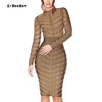Autumn Winter Women S Bandage Dresses 2016 New Sexy Olive Green See Through Bodycon Studded
