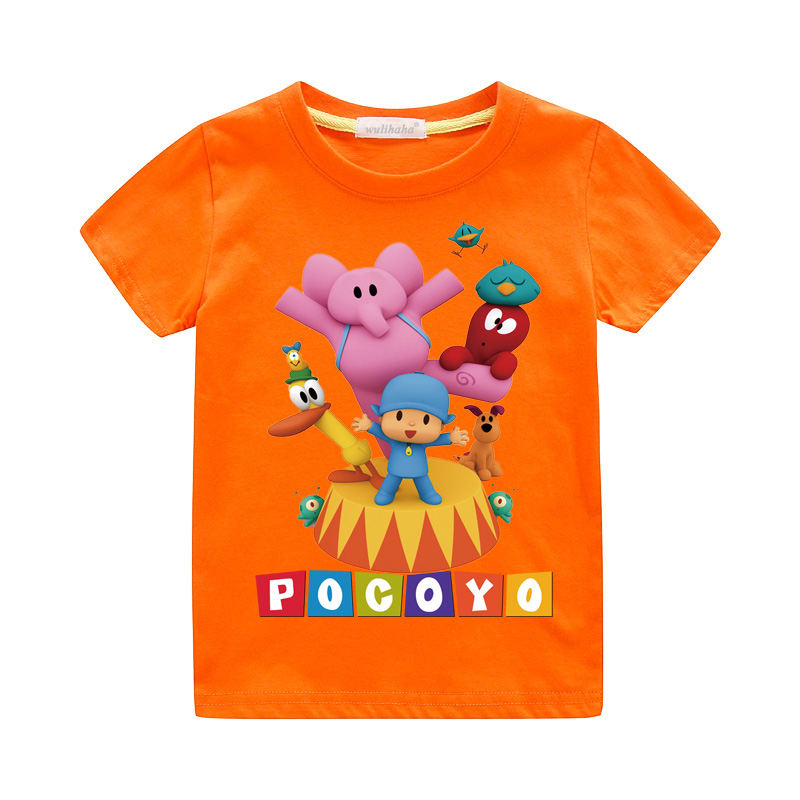 Girls Cute Cartoon Pocoyo Print T-shirts Costume Boys Short Sleeve Tshirts Clothing Children Summer Casual Tee Top Clothes ZA064 (2)