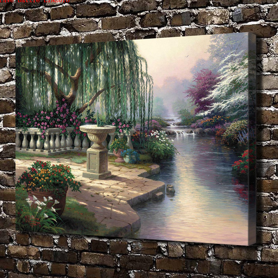 Thomas kinkade hour of prayer scenery canvas painting - Home interiors thomas kinkade prints ...