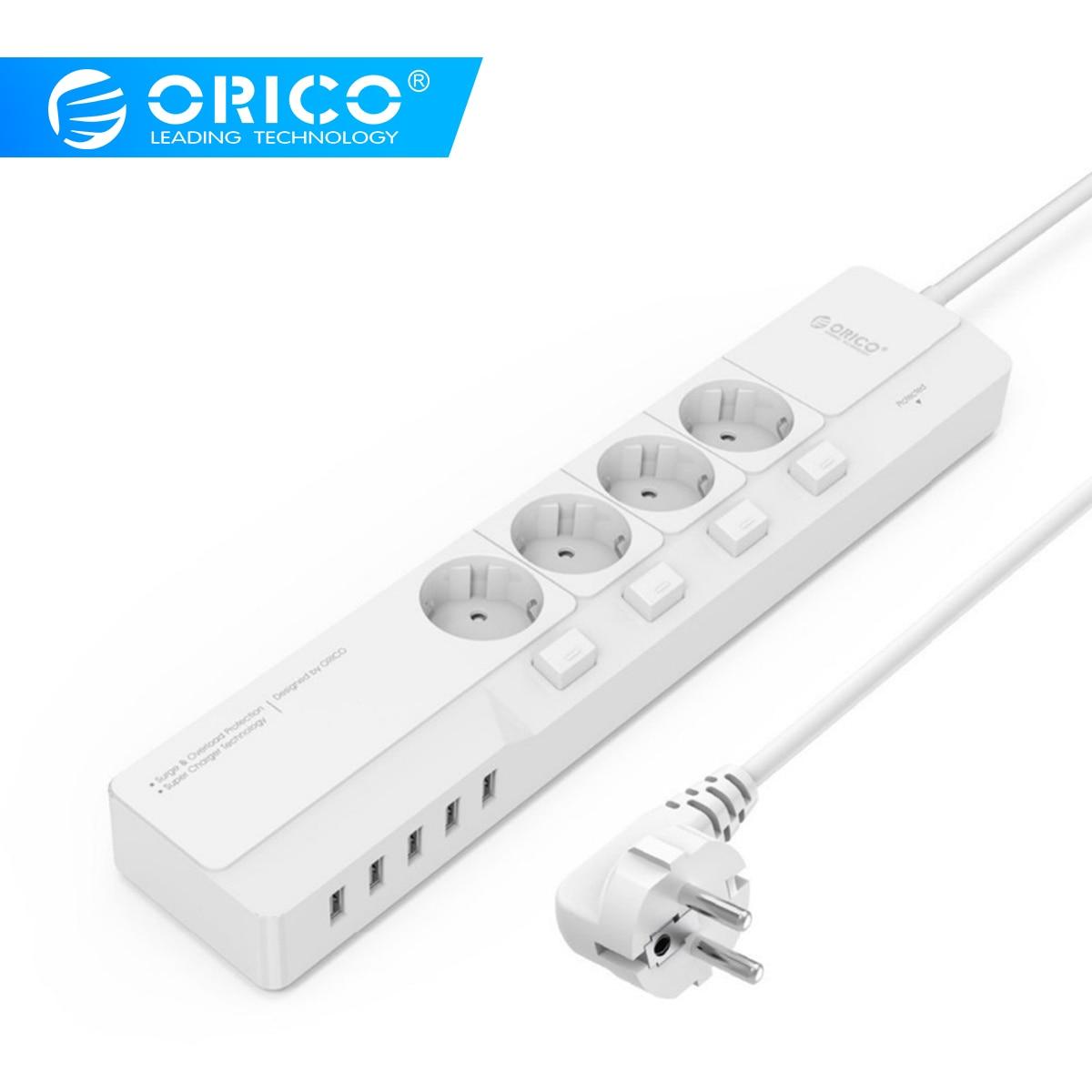 ORICO Smart Socket 4 AC Outlet 5 USB Port Surge Protector Universal Adapter Travel Multi Plug