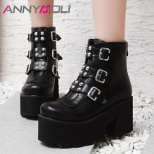 ANNYMOLI Fall Motorcycle Boots Women Buckle Platform Square High Heel Ankle Boots Rivets Zipper Shoes Lady Winter Big Size 33-46