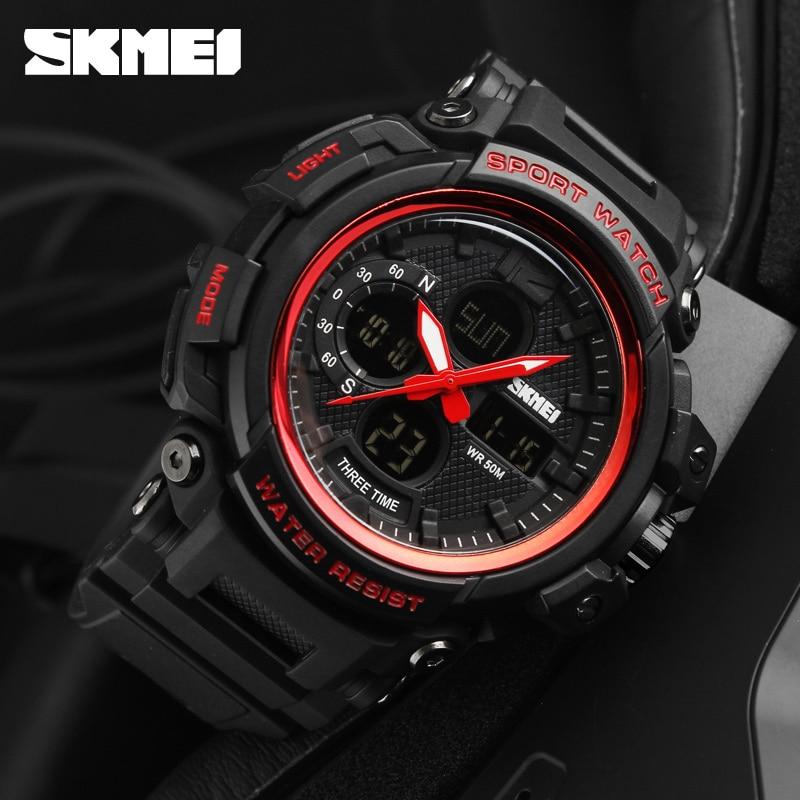 SKMEI 2018 Mężczyźni Wielofunkcyjne LED kwarcowe cyfrowe zegarki 3 - Męskie zegarki - Zdjęcie 4