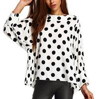 Hot Sale Vintage Cute Black Polka Dots Tops O Neck Long Batwing Sleeve Round Neck White