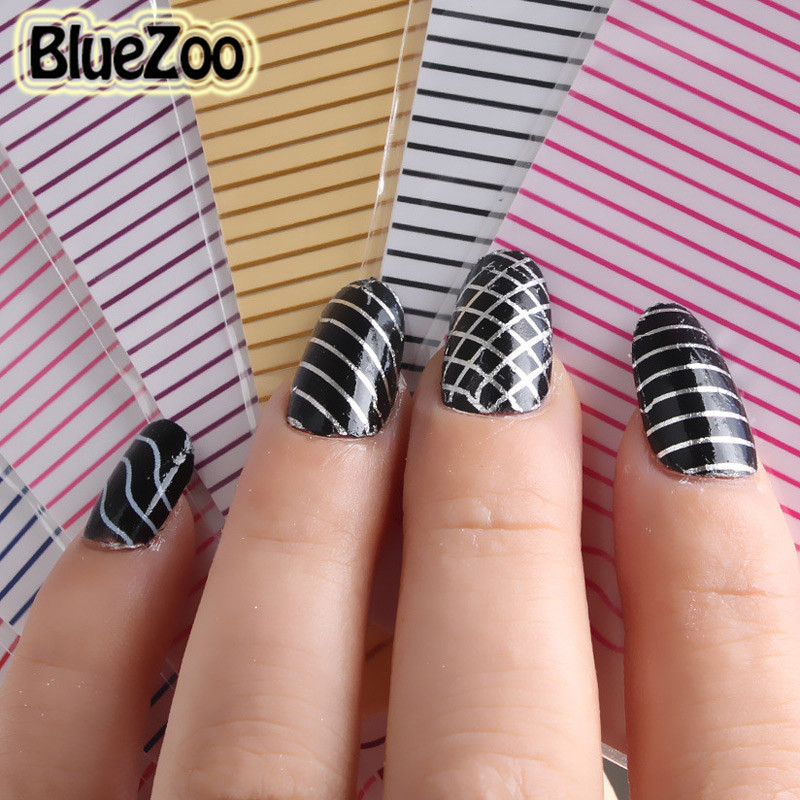 Bluezoo 12 Colorspack Wave Straight Stripes Line Stencils Stamp