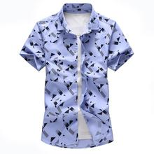 Hawaiian Shirt Mens Clothing Plaid print Short sleeves Blouse Men Shirt Dress Casual Camisa masculina Navy White navy random floral print self tie at sleeves mini dress