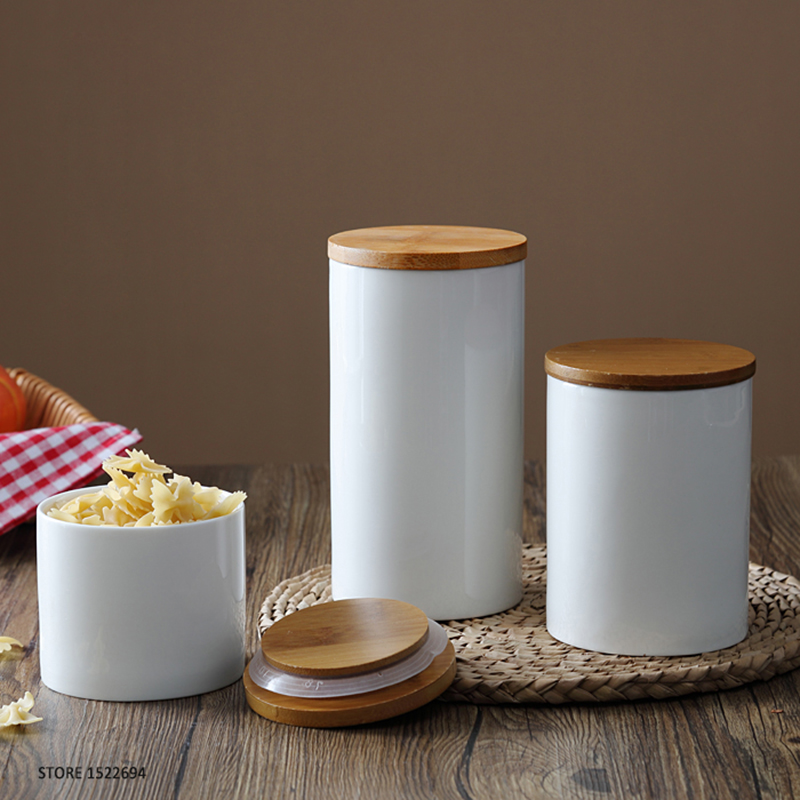 Home Porcelain Canisters Ceramic Jar Food Storage Self Sealing Container  Airtight Bamboo Lid Three Size For Option In Storage Bottles U0026 Jars From  Home ...