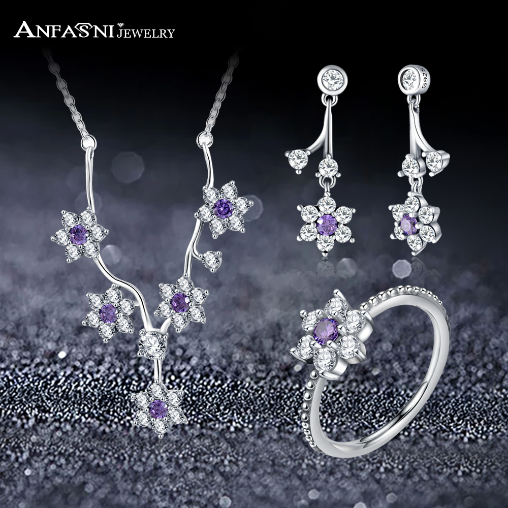 ANFASNI Real 925 Sterling Silver Jewelry Set Forget Me Not Flower With Clear and Purple CZ For Women Jewelry Accessories