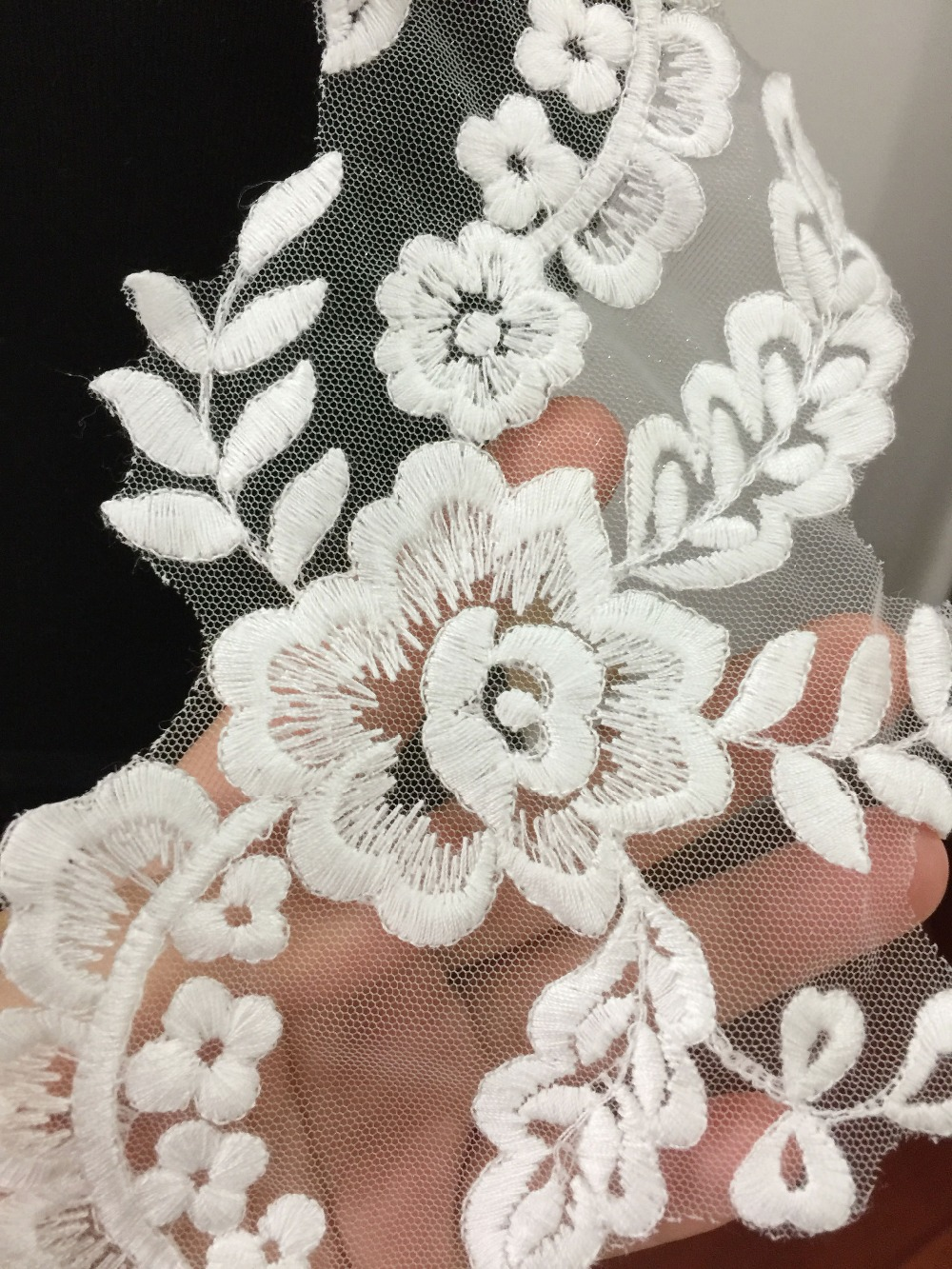 5 pairs ivory cotton floral lace applique pair for wedding dress bodice headpiece bridal lace flower wholesale lace flower in Patches from Home Garden