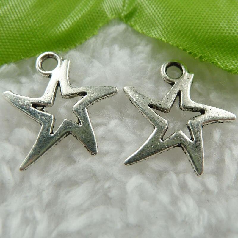 400 штук античная серебряная звезда charms 19x18 мм #474