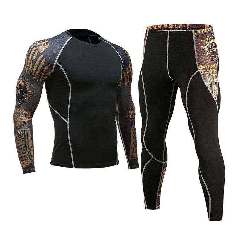 Brand Apparel Men's Compression Muscle Shirt  3D Tights Long Sleeve Men's Crossfit T-Shirt Leggings MMA Rashgard Kit S - 3XL 4XL