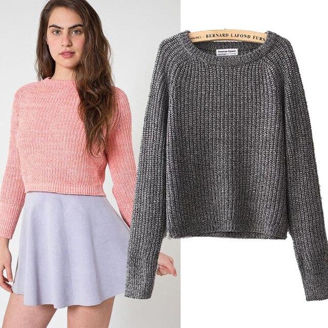 a94e8d5efe Sweaters 2015 women fashion American apparel vintage Classic loose  fisherman knitting thick line Raglan sleeves short