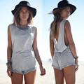 Beach Womens Rompers Sexy Backless Sleeveless Tassel Round neck Sexy Fashion Casual Loose Jumpsuit Playsuit For Club Evening