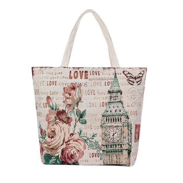 45f797a47c6e Eiffel Tower Flowers Printed Women Handbags Canvas Tote Casual Beach Bags  Ladies Women Shopping Bag Handbags bolsa feminina