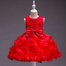 Kids Dresses Girls Clothes Party Applique Fluffy Princess Dress birthday Dress Baby Girl Christmas Baptism Christening Gown girl dress princess christmas lace kids christening events party wear dresses for girls children baby red clothes ad 1667