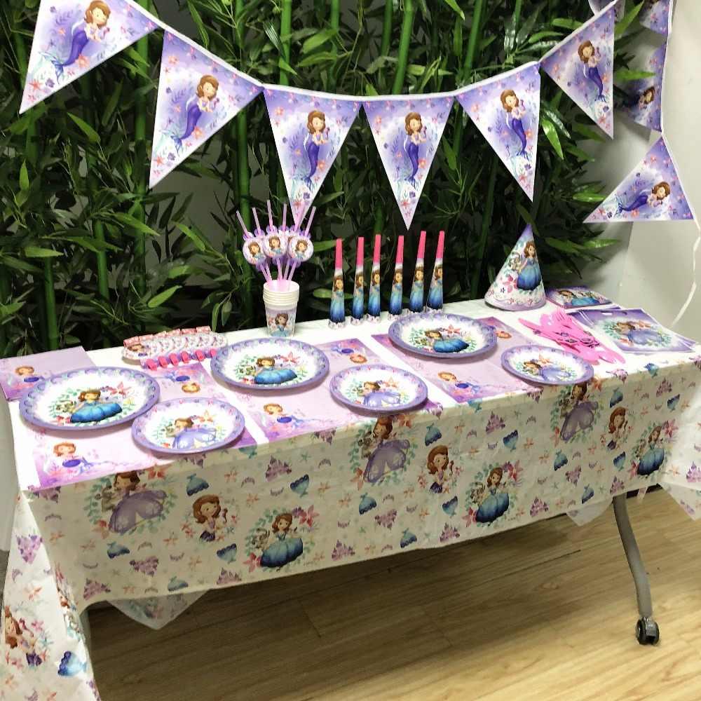 ดิสนีย์โซเฟียฟางฮอร์นส้อมอุปกรณ์ของวันเกิด Happy Birthday Party Supplies เด็กวันเกิด Party ตกแต่ง