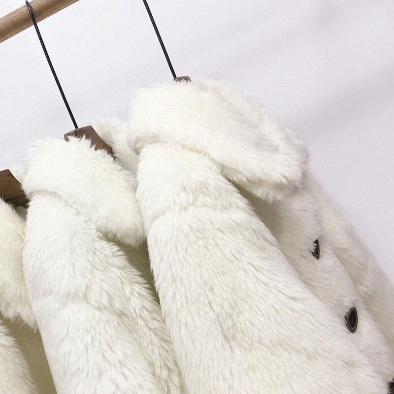 Manteau Fourrure Veste Faux Femmes Et Épais White De En Hiver Chaud D'agneau Gros wqPxatn1g