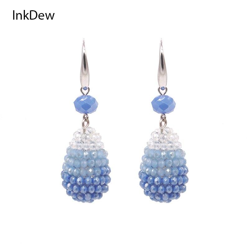INKDEW Trendy Bright Colors Water Drop Shape Big Earrings Long Earrings Beaded Handmade Crystal Drop Earrings