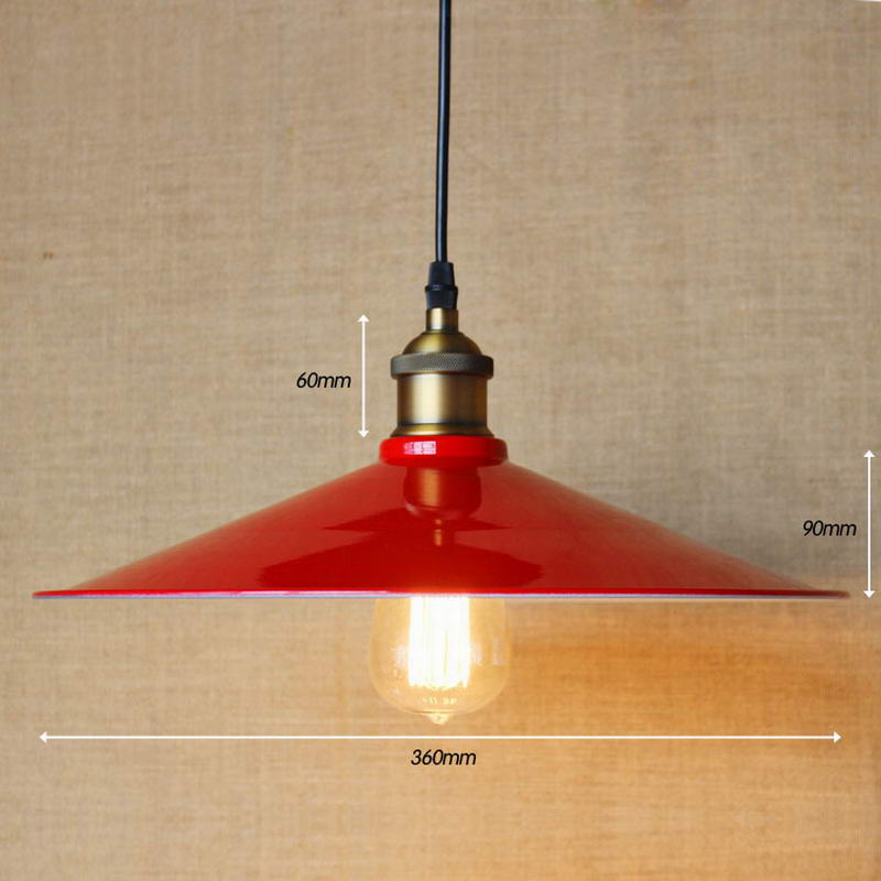ФОТО Edison Industrial Loft Vintage Lighting Fixtures E27 Pendant Lights Warehouse dining room Home Kitchen Hanging Red Iron Lampes