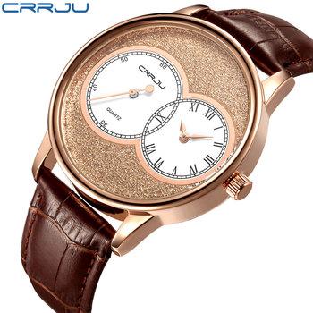 Zimowa wyprzedaż wyprzedaż mężczyźni zegarek kwarcowy Reloj Hombre skórzane zegarki biznesowe mężczyźni zegar armia zegarek wojskowy Sport dla mężczyzn tanie i dobre opinie CRRJU Moda casual Klamra 3Bar QUARTZ Stop 22cm Hardlex 10mm 22mm ROUND Kwarcowe Zegarki Na Rękę CJ2133 Skóra Odporne na wodę
