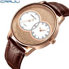 Zimowa wyprzedaż wyprzedaż mężczyźni zegarek kwarcowy Reloj Hombre skórzane zegarki biznesowe mężczyźni zegar armia zegarek wojskowy Sport dla mężczyzn tanie tanio CRRJU Moda casual Klamra 3Bar QUARTZ Ze stopu 22cm Hardlex 10mm 22mm ROUND Kwarcowe Zegarki Na Rękę CJ2133 Odporne na wodę
