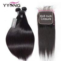 Yyong Hair Peruvian Straight 6x6 Closure With Bundles 4pcs Lot 28 30 Inch Non Remy Straight Human Hair Bundles With Lace Closure