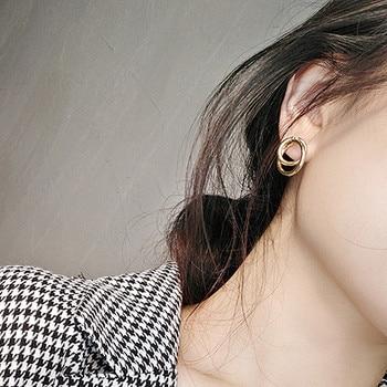 Stud Earrings Women Double Round Geometric Earring Fashion Jewelry  1