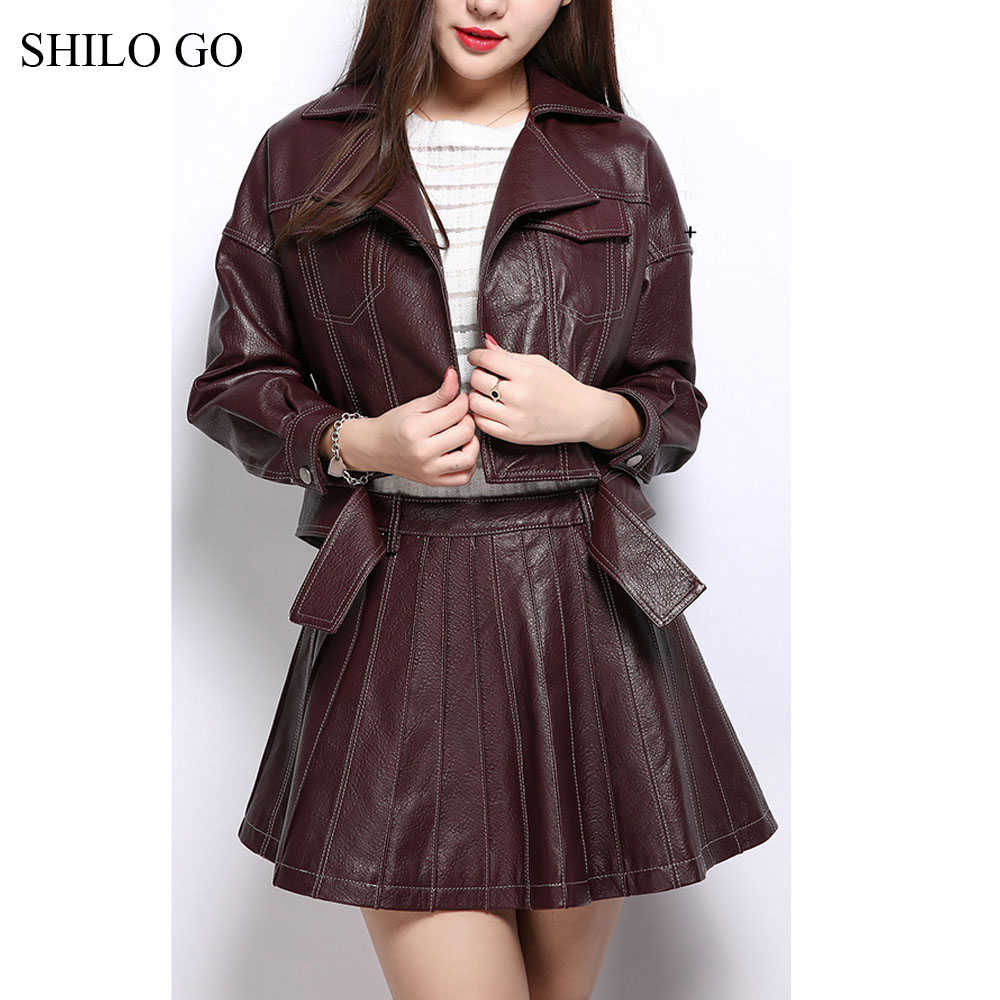 SHILO GO Leather Sets Womens Autumn Fashion sheepskin genuine Leather Suit lapel belt wine red short jacket A Line leather skirt