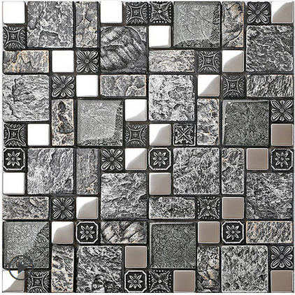 Black grey emboss Resin 3D Glass Backsplash wall sticker,Home Kitchen Bathroom tiles silver drawbench metal DIY wallpaper,LSRN08 copper brown resin sticker fireplace kitchen backsplash wall tiles vintage drawbench metal mosaic meshback home wallpaper lsrn03
