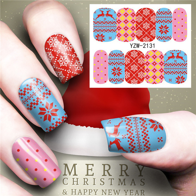 1 Pcs Merry Flower Christmas Tree Nail Sticker Water Decals Nail