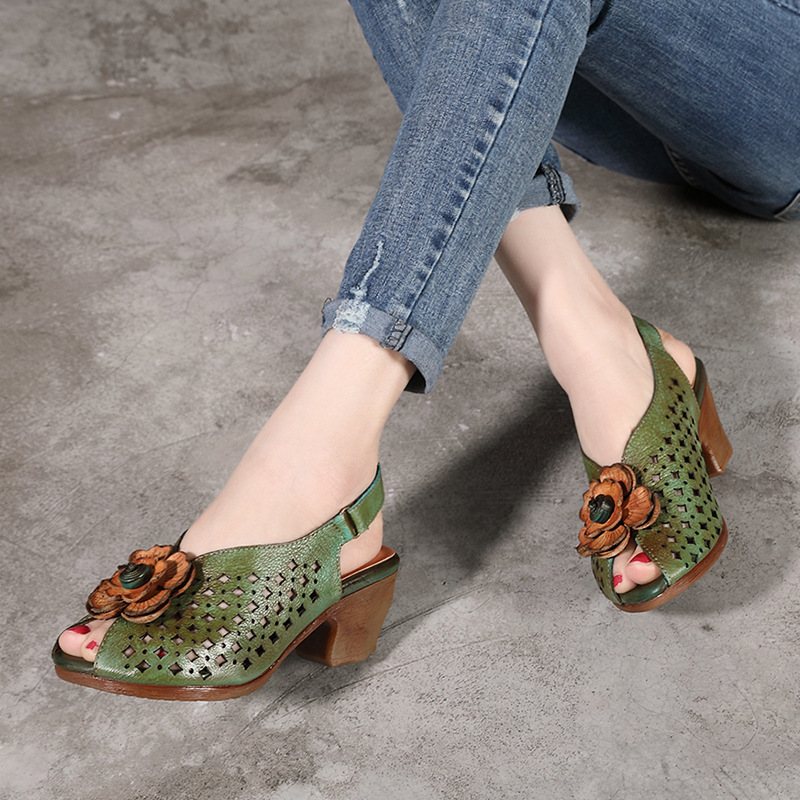 Women Leather Sandals Peep Toe 5 CM High Heels Flower Summer Shoes Sandals Women Fish Mouth