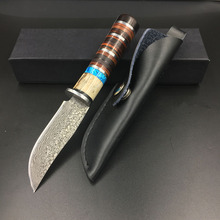 Sharp Damascus pattern steel Hunting knife Fixed Blade Knife Ebony  handle Tactical Knife Outdoor camping survival Knives