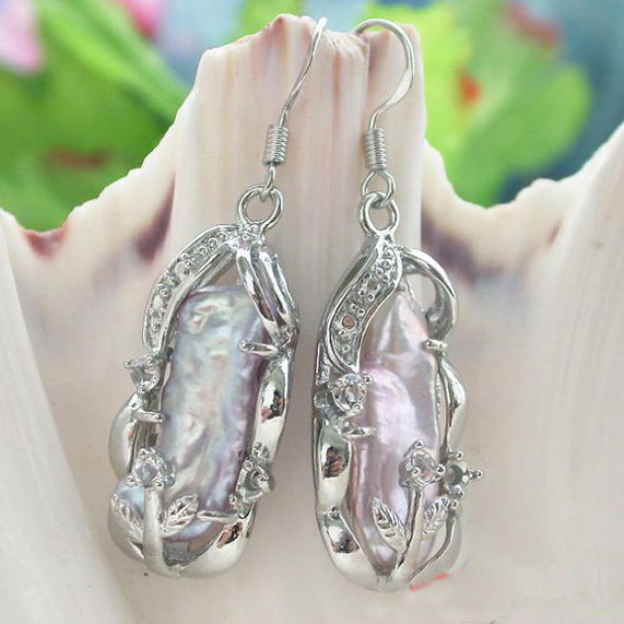 New Arriver 22mm Dens Lavender Color Biwa Pearl Dangle Earrings 925 Silver Hook