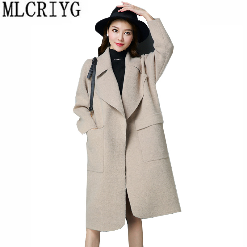 Autumn Cashmere Coat 2018 New Arrival Long Sleeve Wool Coat Female Trench Coats Lady Work Wear Abrigos Mujer Plus Size 5XL LX218