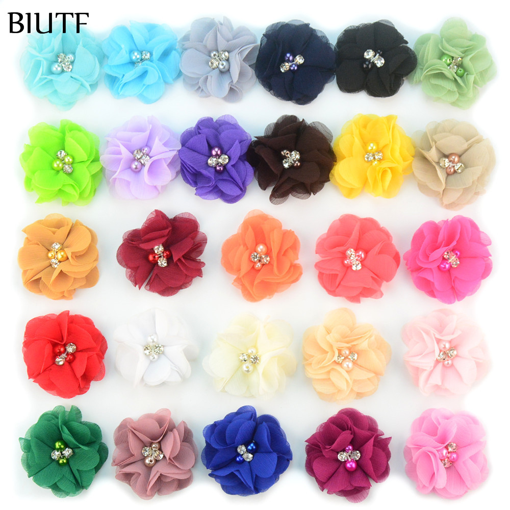 30pcs/lot 1.97'' cute chiffon flowers with Rhinestone Pearl Center girls headbands Flowers hair accessories 27 Color MH22 30pcs lot 28 color u pick handmade 3 chiffon rolled rosette boutique hair flowers diy girls hair accessories fh28