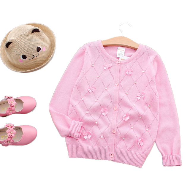 Lolita Girls Sweaters Solid Long Sleeve Outerwear Pearl Children Sweaters Coats O Neck Sweater Cute Kids Clothes With Bows