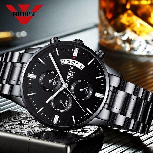 Reloj de pulsera de cuarzo militar de moda de marca superior famosa de lujo NIBOSI, reloj de pulsera de cuarzo para hombre