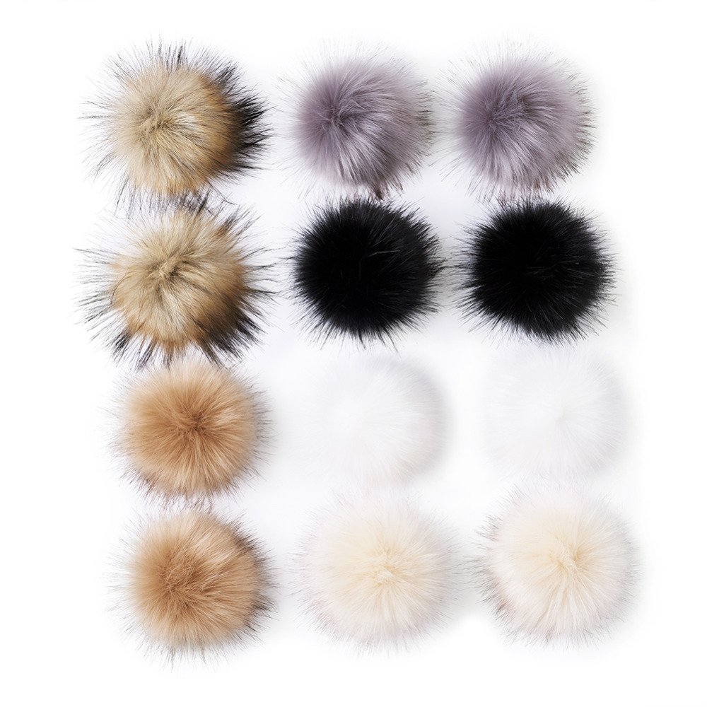 12set/bag Fluffy Pompom Sewing Snap Button Accessories Jewelry Decor Press Studs+Faux Fake Fur Hair Ball Pompom+Buttons+Knobs