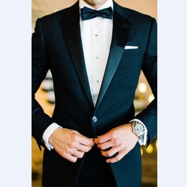 Custom Made Groomsmen Notch Satin Lapel Groom Tuxedos Black Men Suits Wedding Best Man (Jacket+Pants+Tie+Hankerchief)