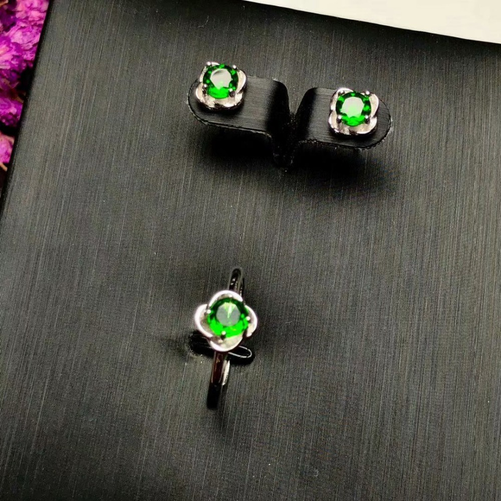 100 925 sterling silver real Natural diopside rings stud earrings fine Jewelry gift wedding open wholesale