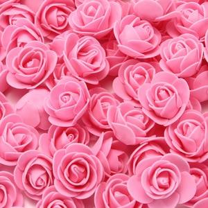 Image 2 - Köpük güller 500 adet 3.5cm yapay köpük çiçek kafaları DIY 20cm oyuncak ayı kalıp gül ayı aksesuarları dekor sevgililer hediye