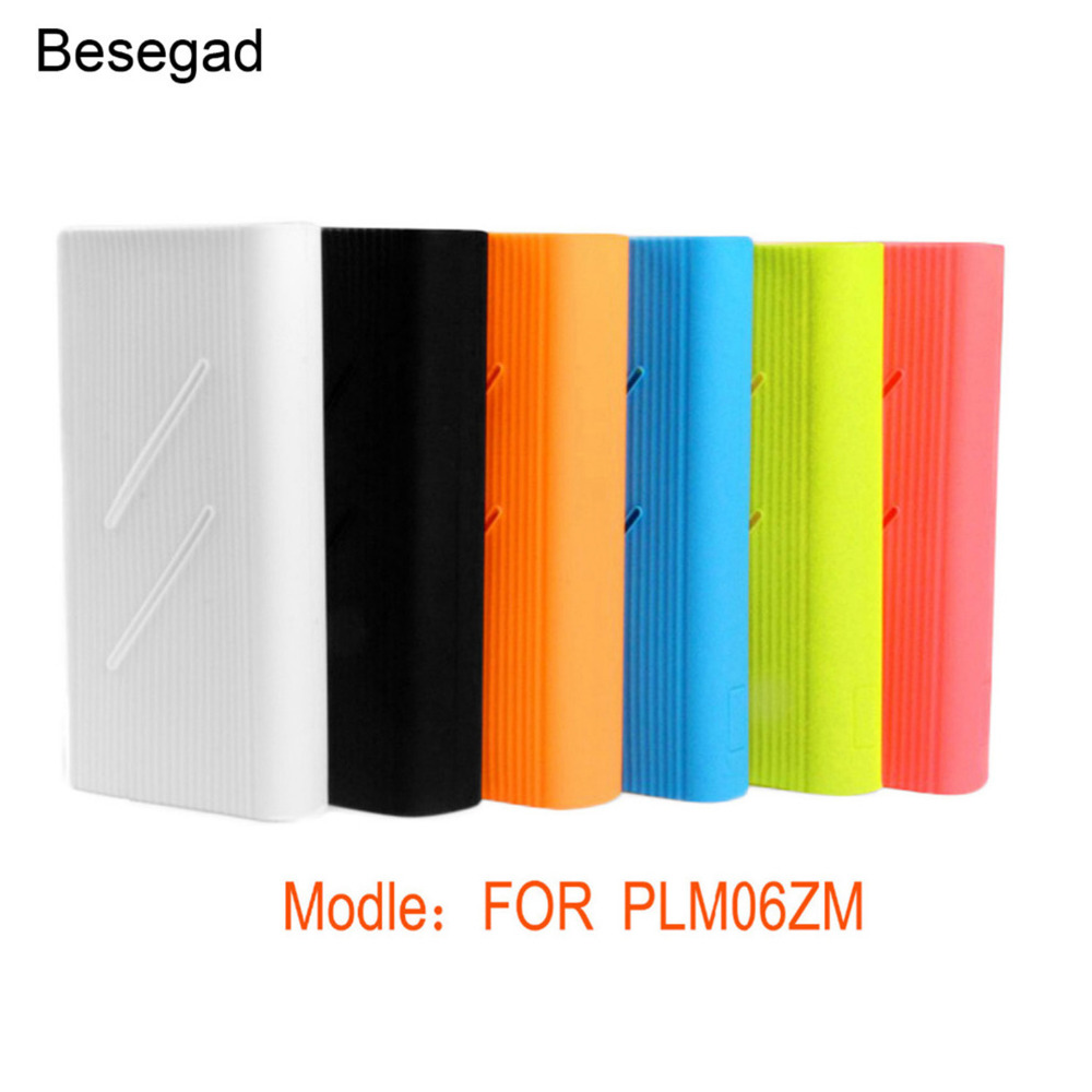 Besegad Silicone Protector Case Cover Skin Shell for <font><b>Xiaomi</b></font> Xiao <font><b>Mi</b></font> Xiomi <font><b>20000mAh</b></font> <font><b>Power</b></font> <font><b>Bank</b></font> <font><b>2C</b></font> PLM06ZM Powerbank Accessories image