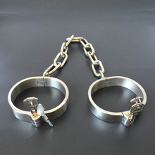 Adult Games 1 Pair Stainless Steel Wrist Ankle Cuff BDSM Bondge Male Restraints Slave Erotic Sex Toys For Couples