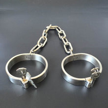 Adult Games 1 Pair Stainless Steel Wrist Ankle Cuff BDSM Bondge Male Restraints Slave Erotic Adult Sex Toys For Couples(China)
