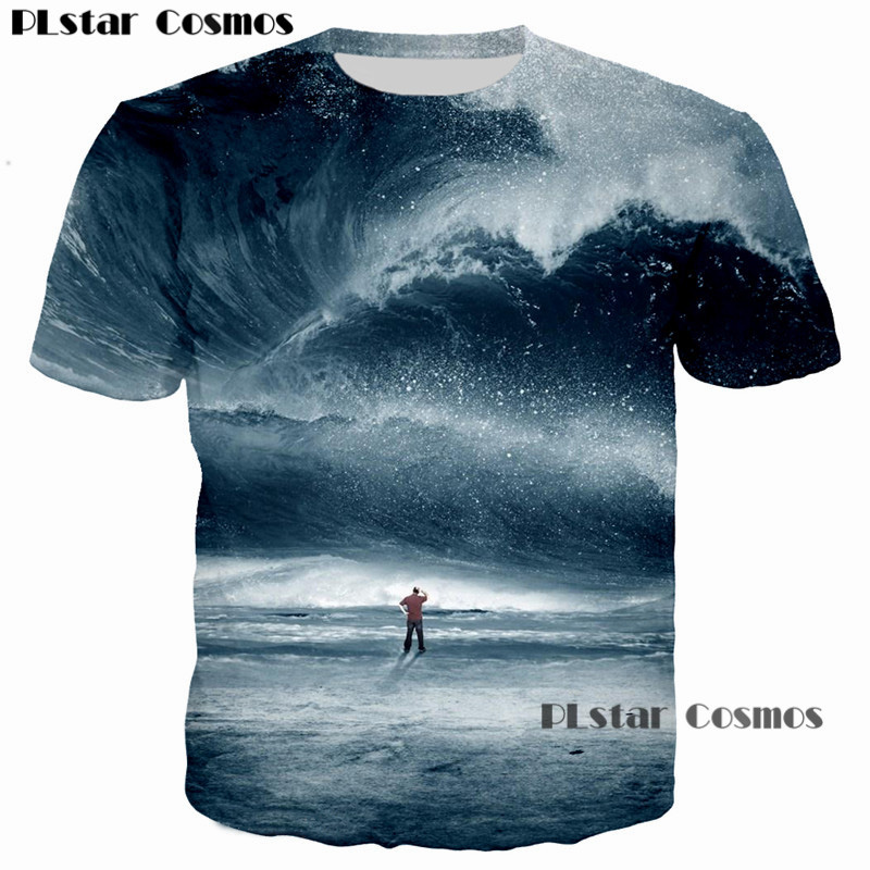 PLstar Cosmos 2018 Summer Sea Harajuku 3D Printed t shirt Big tsunami Beach Dripping Dazzle Print T-Shirt Men/Women tees tshirt
