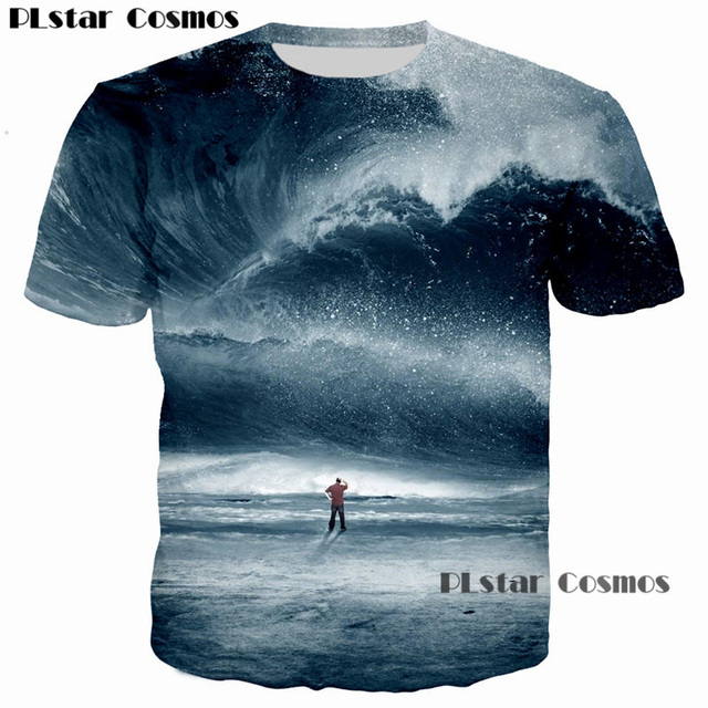 342257dd8e9 PLstar Cosmos 2018 Summer Sea Harajuku 3D Printed t shirt Big tsunami Beach  Dripping Dazzle Print T-Shirt Men Women tees tshirt