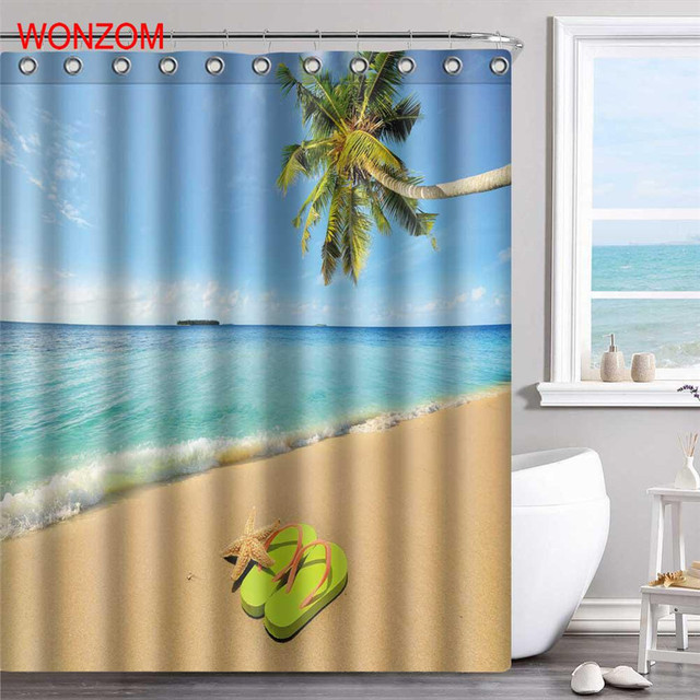 WONZOM Sea Wave Polyester Fabric Beach Shower Curtain Scenery Bathroom Decor Waterproof Cortina De Bano With 12 Hooks Gift 2017