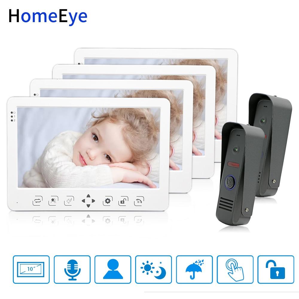 HomeEye 10 ''vidéo interphone vidéo sonnette 2-4 système d'accès à la maison Message vocal Menu espagnol enregistrement vidéo déverrouiller la porte