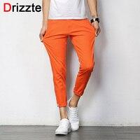 Drizzte Mens British Style Slim Chino Soft Denim Stretch Ankle Pants Orange Blue Grey 32 33