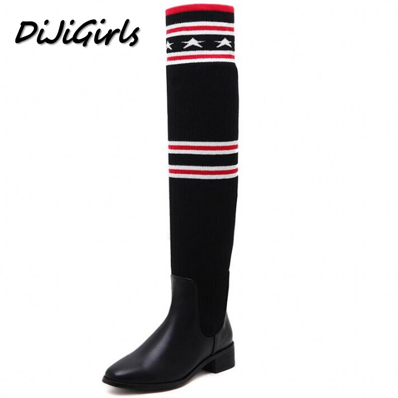 DiJiGirls new autumn winter women over the knee boots shoes woman fashion genuine leather patchwork long high boots 34-43 autumn winter high quality hot sale genuine leather over the knee boots platform buckle long women boots