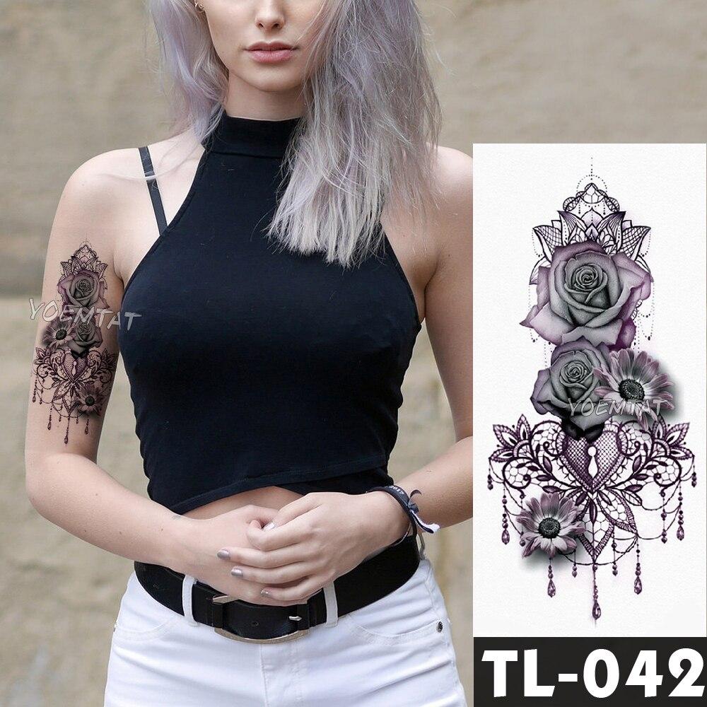 Fake temporary tattoos stickers dark rose flowers arm shoulder tattoo waterproof women flash tattoo on body art girl